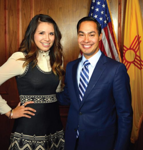 Cindy Nava met U.S. Secretary of Housing Julián Castro when she received the Rising Star Award from the New Mexico Democratic Party.