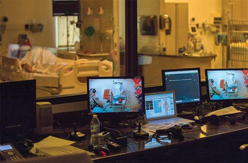 """Similar to a hospital setting, students can monitor """"patients"""" in the Sim Lab."""