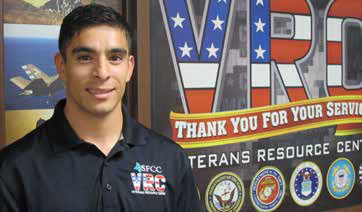 Student veteran Jonathan Sanchez appreciates the camaraderie and activities of the Veterans Resource Center.