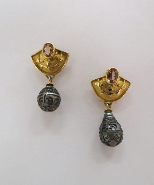 Sydney Scherr Phoenix Earrings with pearls