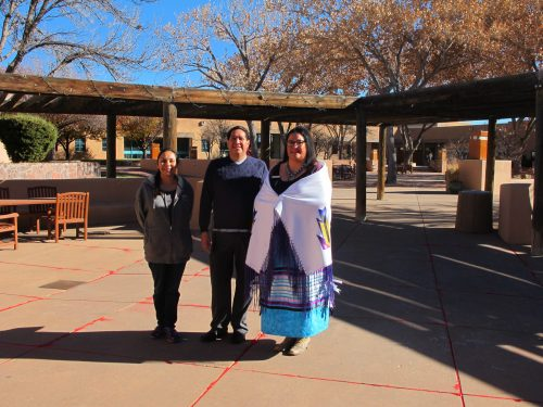 SFCC's student president of the Native American Club Tara Duran, SFCC data technician Marvin Galbadon and organizer of Native American Heritage Month activities and associate dean Brooke Gondara, who organized the Red Sand Project at Santa Fe Community College.