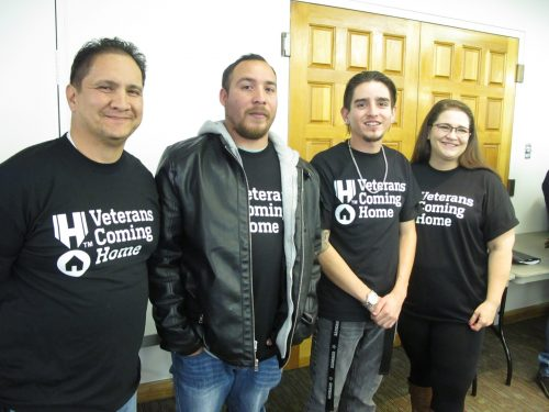 SFCC Veteran's Resource Center student workers helped at the event. Left to right: Student veterans Angelo Lucero, Anthony Prieto, Brandon Martinez and Krystal Patton.