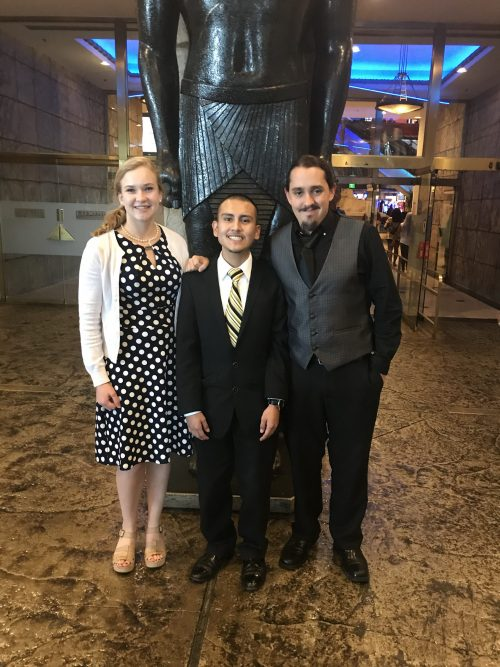 Left to right: Santa Fe Community College students Alexis Lynch, Elijah Naranjo, Daniel Zamora attended the IMEX trade show in Las Vegas, Nevada.