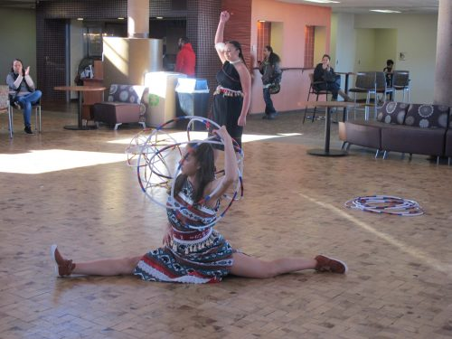The more experienced hoop dancers add special moves to their dances.