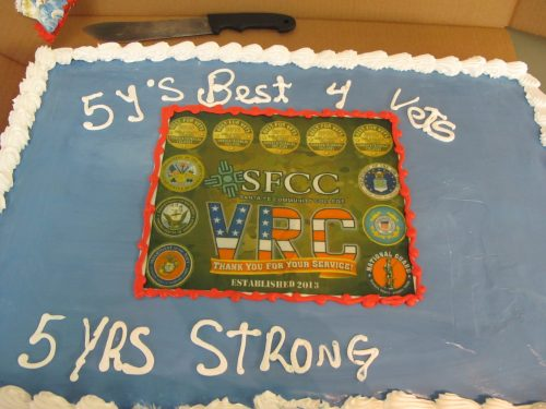 SFCC's Veterans Resource Center served a cake that celebrated the college's designation as a Best for Vets by Military Times for the fifth year.