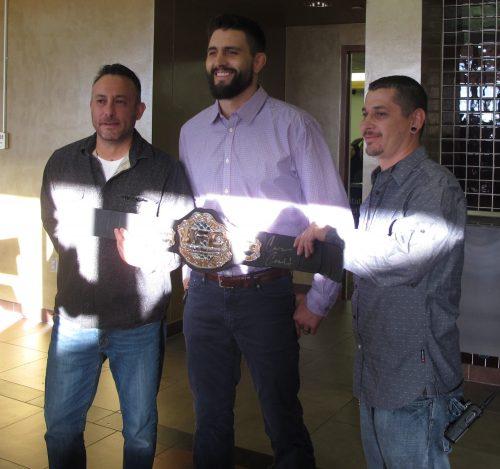 SFCC's AV Tech Marshall Martinez and OIT's technical Support Specialist Fine