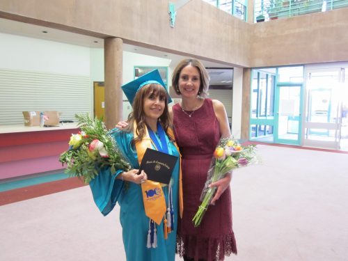 Luz Marilyn Salas Pecorelli, who received her Early Childhood Development Certificate with High Honors, celebrates her accomplishment with Bilingual and Duel Credit Teacher Education Coordinator Tiffany Nofield Bracamontes.  Luz Marilyn Salas Pecorelli was part of the first class (of 45) that had taken all of their classes in Spanish to earn a certificate.