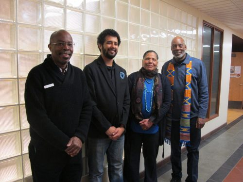 A panel explored Black history, identity and racism during the Feb. 19 event.  Left to right: Moderator: SFCC Staff member John Ketchens and panelists: SFCC (legal studies) student and Student Ambassador Isaac Bonnett; Rita Powdrell, Director of the African American Museum & Cultural Center of New Mexico; and George Geder, genealogist and writer.