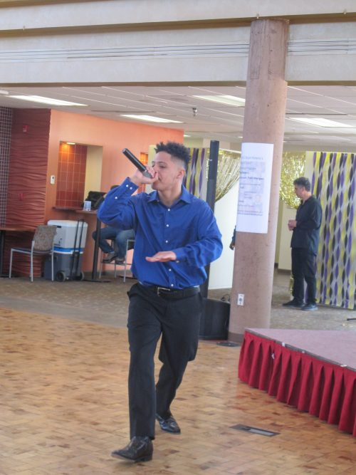 RaySean (an SFCC student) entertained with hip-hop with a positive message.