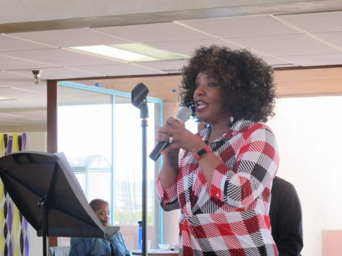 Toni Morgan sang as part of the closing festivities for Black History Month.