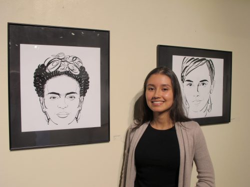 Katerine Contreras has many of her pieces in the show. On the left, her popular typography artwork,