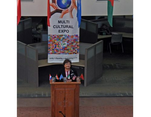 Interim president Cecilia Cervantes, Ph.D,, welcomes everyone to One World, Many Cultures!
