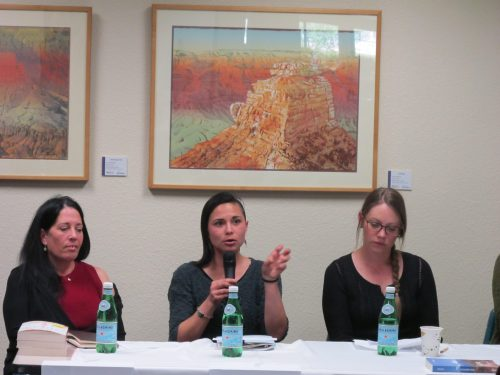 Left to right, Julia Goldberg, Jennifer Love and Kate McCahill participated in the writers' panel.