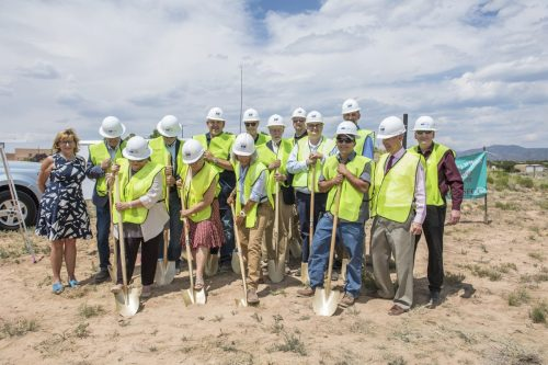 Director of SFCC's Automotive Technology Julia Furry, far left, and dignataries join in the groundbreaking ceremony.