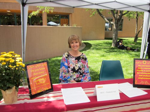 Student Employee Program Manager Susie Weaver gave information to those seeking information about financial aid.