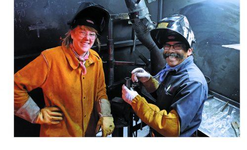 SFCC welding student Callahan Jobe and welding instructor Jake Lovato
