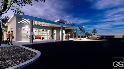Evening Entrance: As SFCC offers many courses in the evening, a student would approach the main entry to the new Automotive Technology Center (ATC), and witness the 'Flex Lab' wherein a special class, display, or community event can be held.