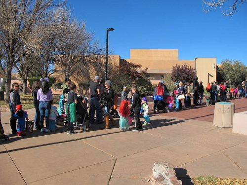 Kids and parents were lining up before 3:30 p.m. eager to participate in SFCC's safe Trick or Treats event.