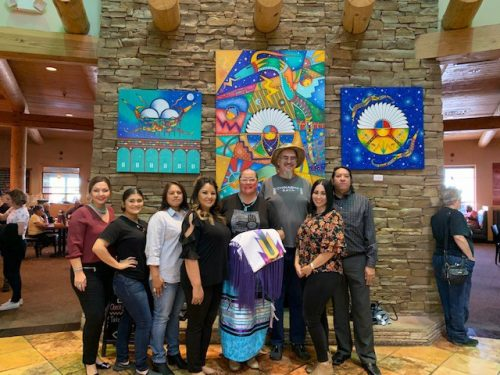 SFCC Indigenous Club attends inaugural event at Indian Pueblo Cultural Center. Participants in the festivities at the Indian Pueblo Cultural Center included: Thomasinia Gallegos Ortiz, Nalini Sosa, Lee Standing Elk, Bernadette Gonzales, Brooke Gondara, Rusty Rodke, Danielle Gonzales and Marvin Gabaldon.
