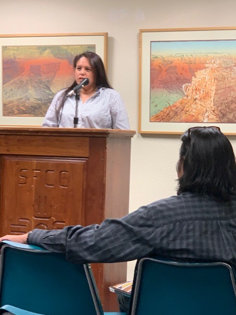 SFCC student Leonore (Lee) Standing Elk at the SOW reading on Oct. 14..