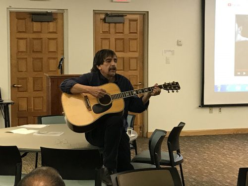 Andrew Lovato, Ph.D., speaks about the blues at the Feb. 5 Black History Month event.  He is the author of 'The Big Book of Blues Guitar: The History, The Greats―And How to Play.'