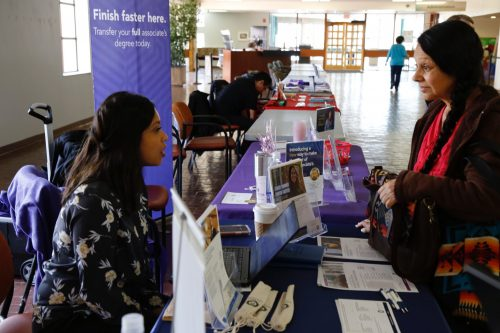 On Transfer Day, students can pick up literature from a variety of colleges and universities.