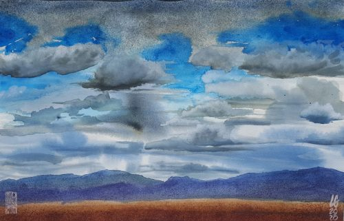 """Lucas Gonzales, """"August in Santa Fe,"""" watercolor, 19 by 12"""
