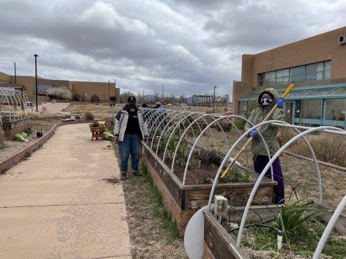 Natasha Farmer and Olivia Romero prepare the soil for the raised beds.