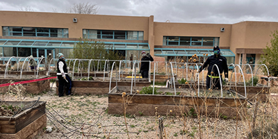 Culinary arts faculty member Micaela Deaton, SFCC garden volunteer Brett Fraunglass and chair of Advanced Trades and Sustainability Stephen Gomez, Ph.D., all assisted during the April event to revitalize the Culinary Arts Garden.