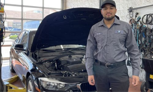 Auto Tech student Rodolfo Torres Minjares interned at Santa Fe BMW, where he now works