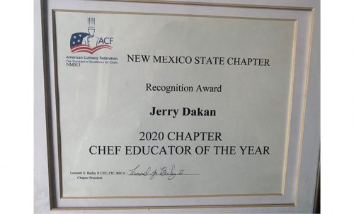 Jerry Dakan NM State ACF Chef Educator of the Year certificate